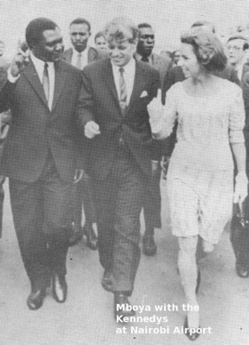 Tom Mboya with the Kennedys at Nairobi Airport